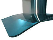 "NT AIR Range Hood 28"" Designer Curved Blue Glass Wall SSteel"